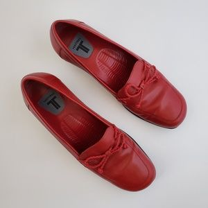 Trotters red leather slip on loafers size 6